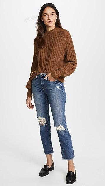 FRAME Le Nouveau Straight Jeans with Raw Edge Slit