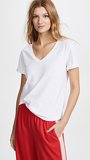 FRAME Cuffed V Neck Top