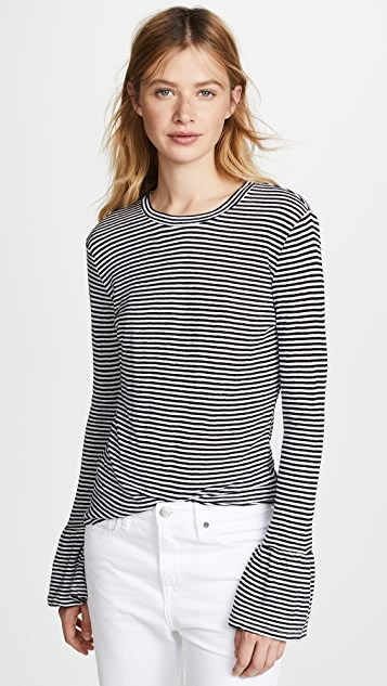 FRAME Ruffle Long Sleeve Tee