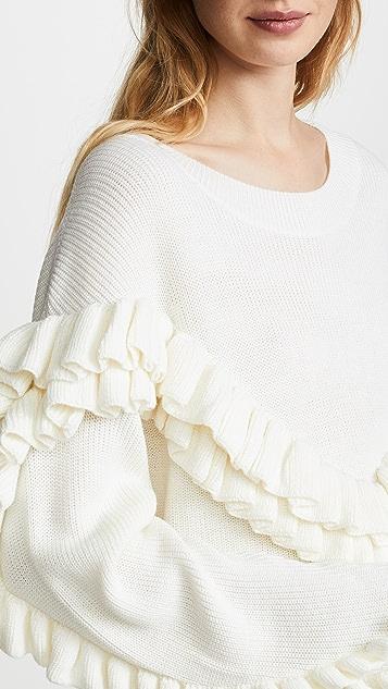 FRAME Ruffle Yoke Sweater
