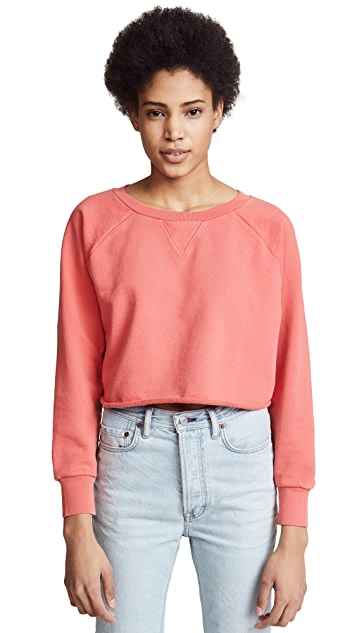 FRAME Gusset Cropped Long Sleeve Top