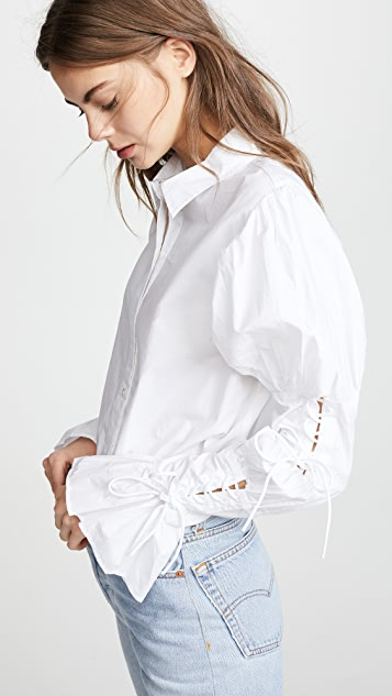 FRAME Lace Up Long Sleeve Shirt