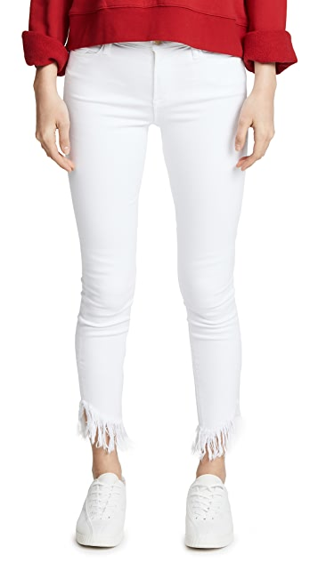 FRAME Le High Skinny Jeans with Raw Shredded Hem