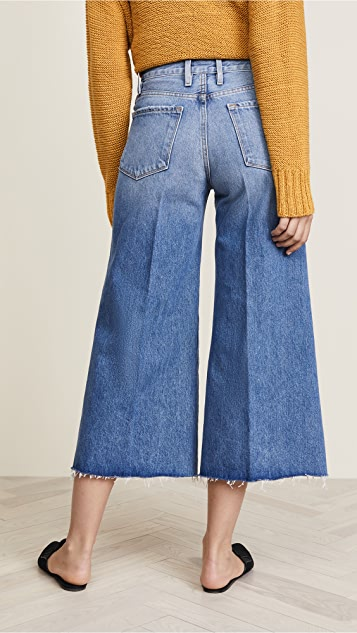 FRAME Le Crop Palazzo Pants with Raw Edge