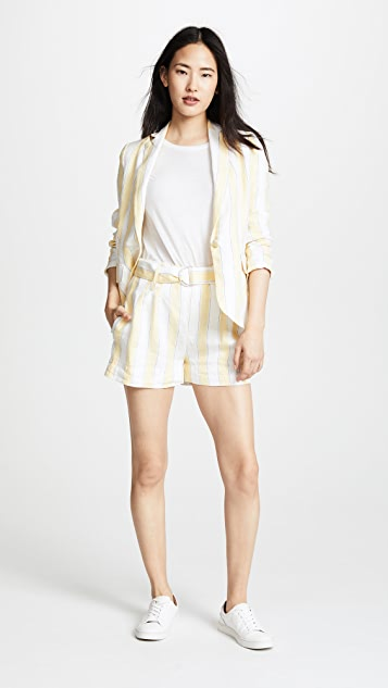 FRAME Linen Strip Shorts
