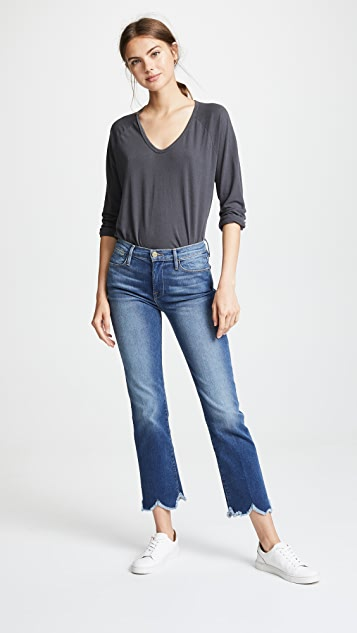 FRAME Le High Jagged Hem Jeans