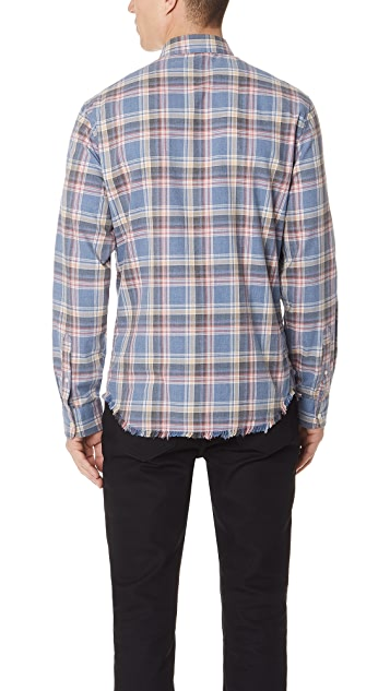 FRAME Frayed Hem Flannel Shirt