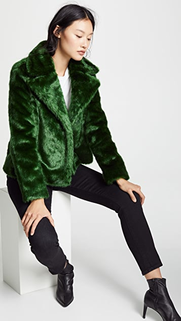 FRAME Notched Collar Fur Coat