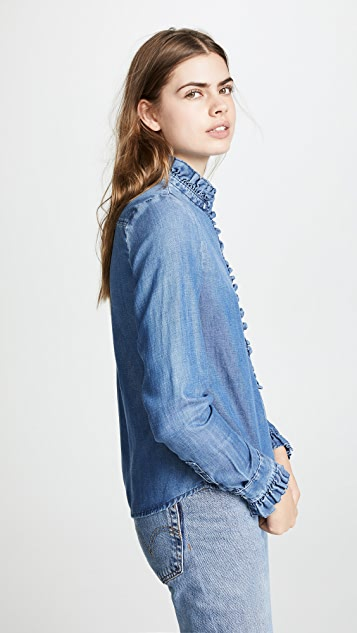 FRAME Ruffle Denim Shirt