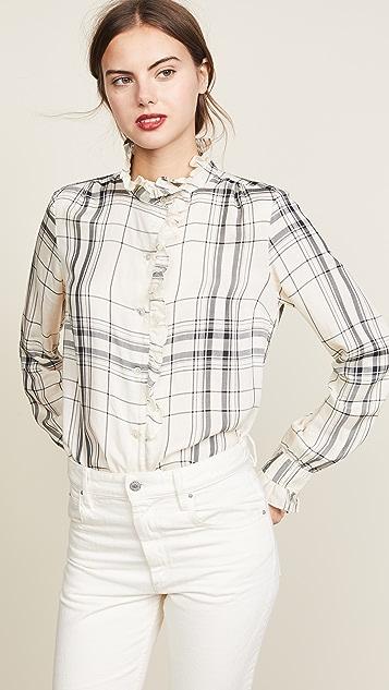 FRAME Ruffle Plaid Shirt