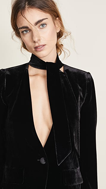 FRAME Velvet Tie Blazer