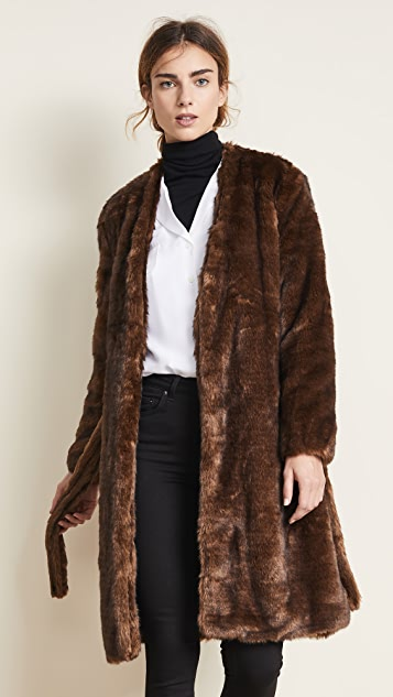 FRAME Faux Mink Robe Coat