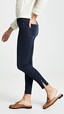 Le High Skinny Raw Edge Slit Rivet Jeans