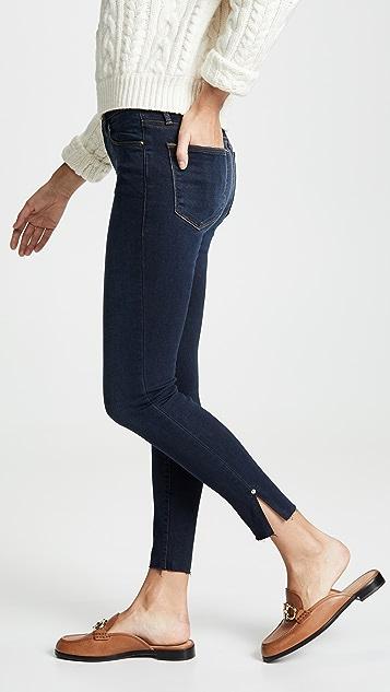 FRAME Le High Skinny Raw Edge Slit Rivet Jeans