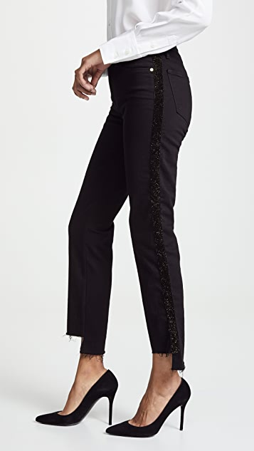 FRAME Le High Straight Velvet Tux Raw Jeans