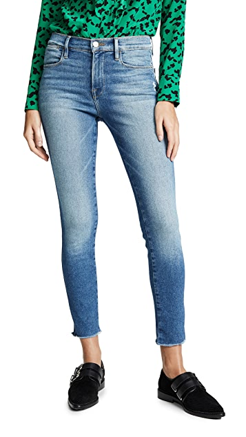 FRAME Le High Skinny Double Needle Raw Jeans