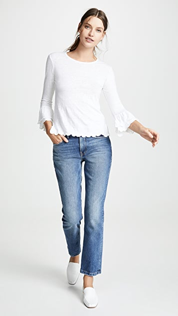 FRAME Scalloped Bell Sleeve Top