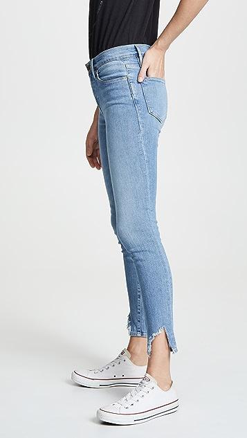 FRAME Le High Skinny Side Fray Jeans