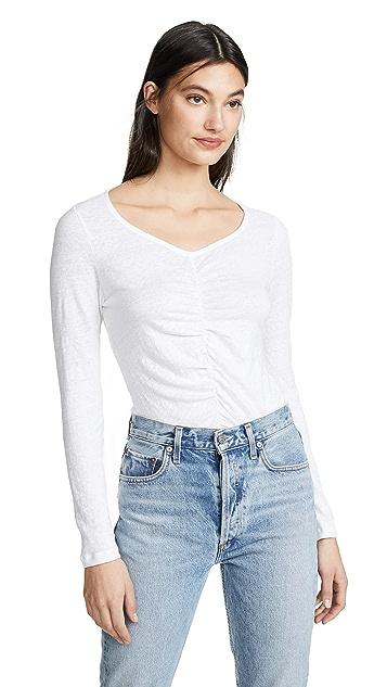 FRAME Рубашка с длинными рукавами из льна со сборками