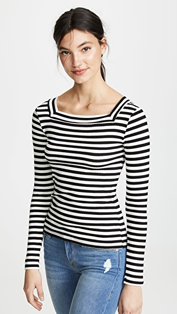 Frame T-shirts Striped Bateau Long Sleeve Shirt