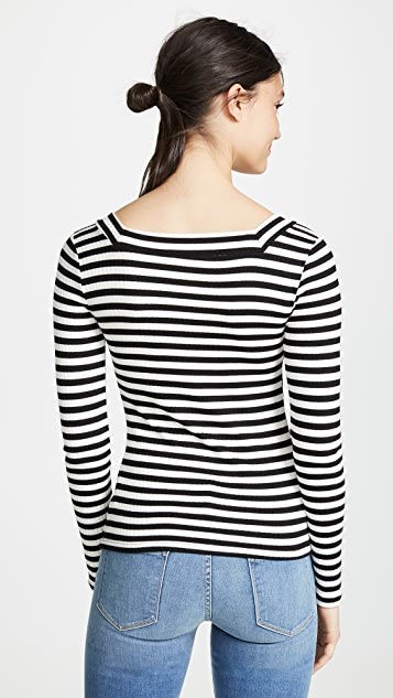 FRAME Striped Bateau Long Sleeve Shirt