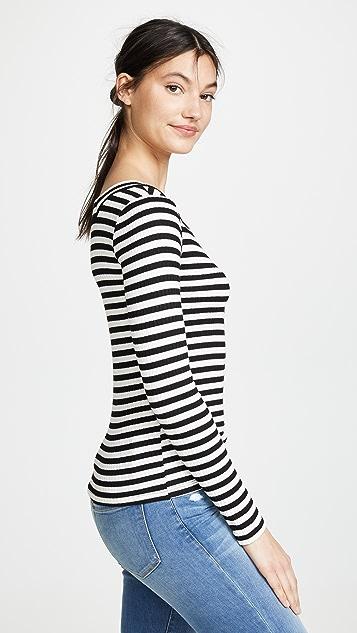 FRAME Striped Bateau Long Sleeve Shirt