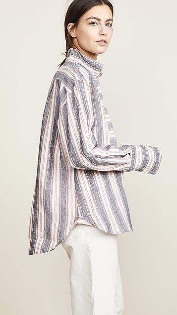 FRAME Рубашка Clean с манишкой и воротником из льна