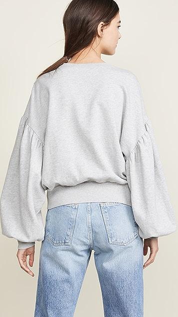 FRAME Shirred Sleeve Sweatshirt