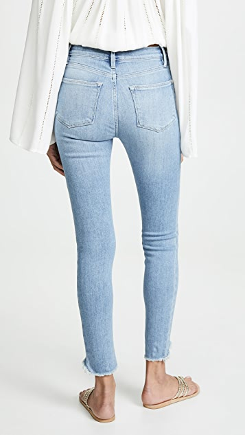 FRAME Le High Skinny Triangle Raw Jeans