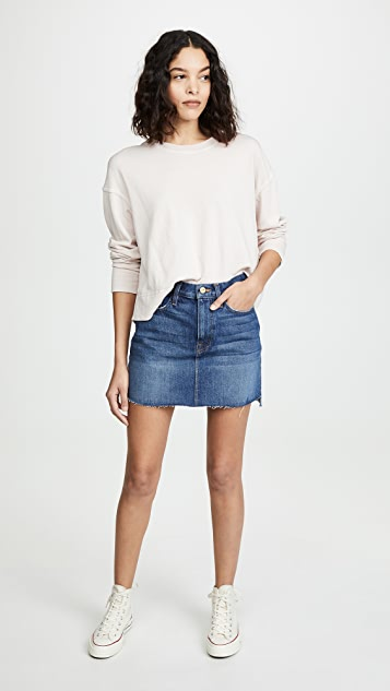 FRAME Le Mini Raw Stagger Edge Miniskirt