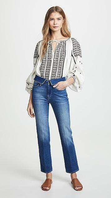 FRAME Le High Straight Fold Over Jeans