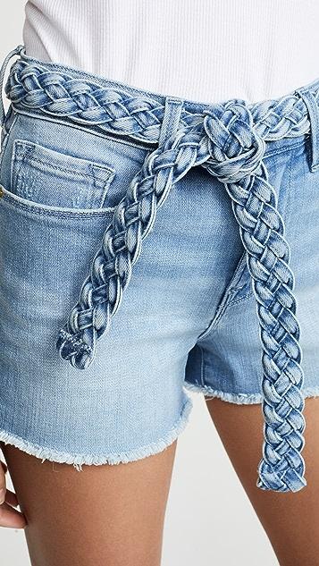 FRAME Le Cutoff Braided Belt Shorts