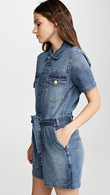 FRAME Pleated Coverall Shorts