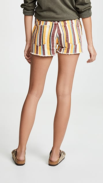 FRAME Let Cutoff Painterly Stripe Shorts