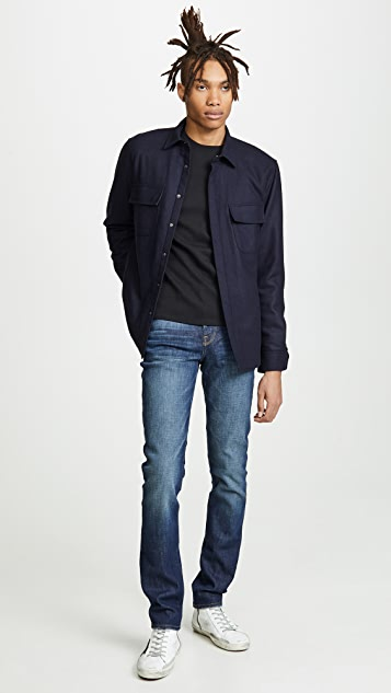 FRAME Long Sleeve Quilted Shirt Jacket