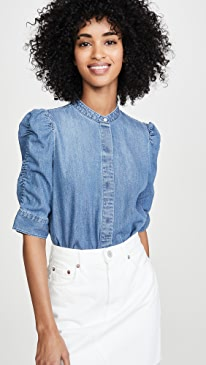 Shirred Sleeve Button Up