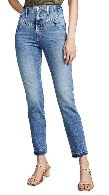 FRAME Прямые джинсы в стиле ретро с V-образной кокеткой