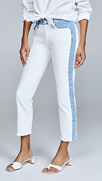 FRAME Le High Straight Leg Jeans with Indigo Blocking