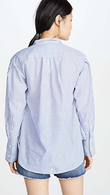 FRAME Pleated Clean Collar Shirt