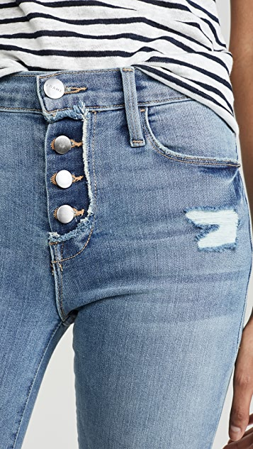 FRAME Le 钮扣门襟高腰紧身牛仔裤