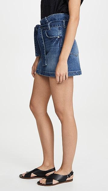 FRAME Belted Pleated Miniskirt