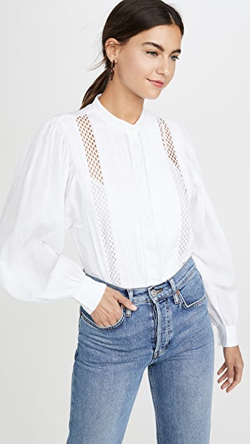 FRAME Lace Button Front Top