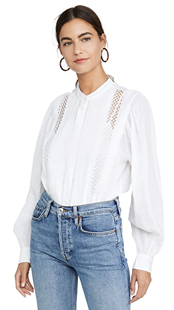 Frame Tops Lace Button Front Top