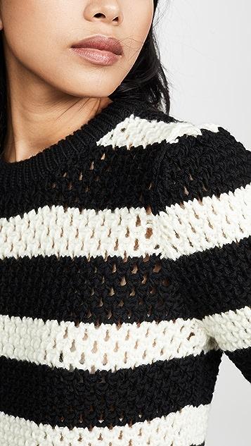 FRAME 条纹镂空针织圆领上衣
