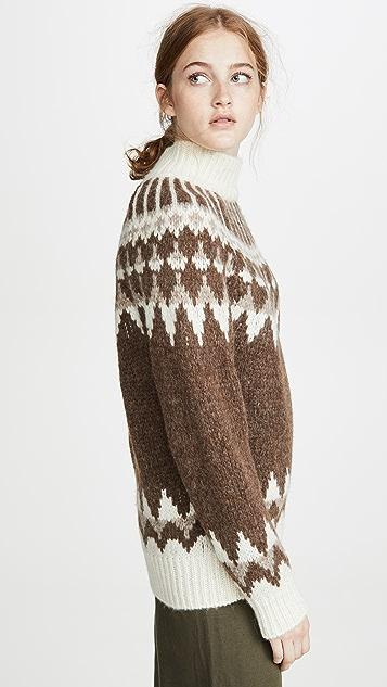 FRAME 费尔岛风格印花半高领羊驼毛毛衣