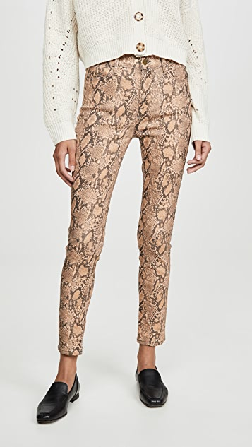 FRAME Le High Skinny Crop Coated Python Jeans