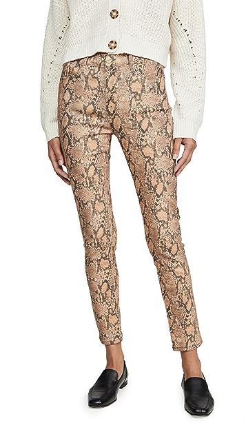 FRAME Укороченные джинсы-скинни с высокой посадкой и покрытием с принтом под питона