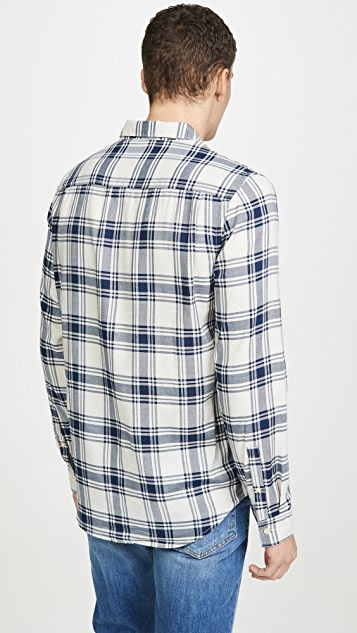 FRAME Long Sleeve Tile Plaid Button Down Shirt