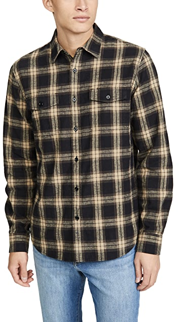 FRAME Long Sleeve Double Pocket Button Down Shirt