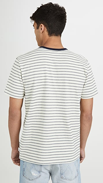 FRAME Short Sleeve Yarn Dyed Ringer Tee